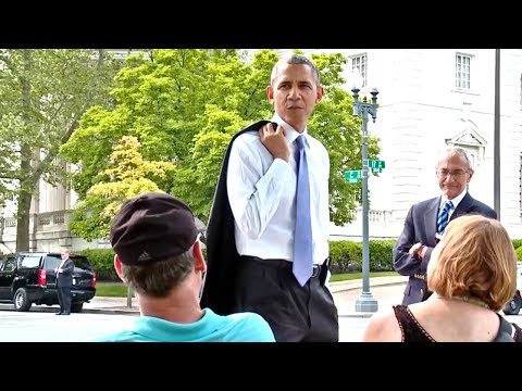 President Obama Walks The Washington Mall