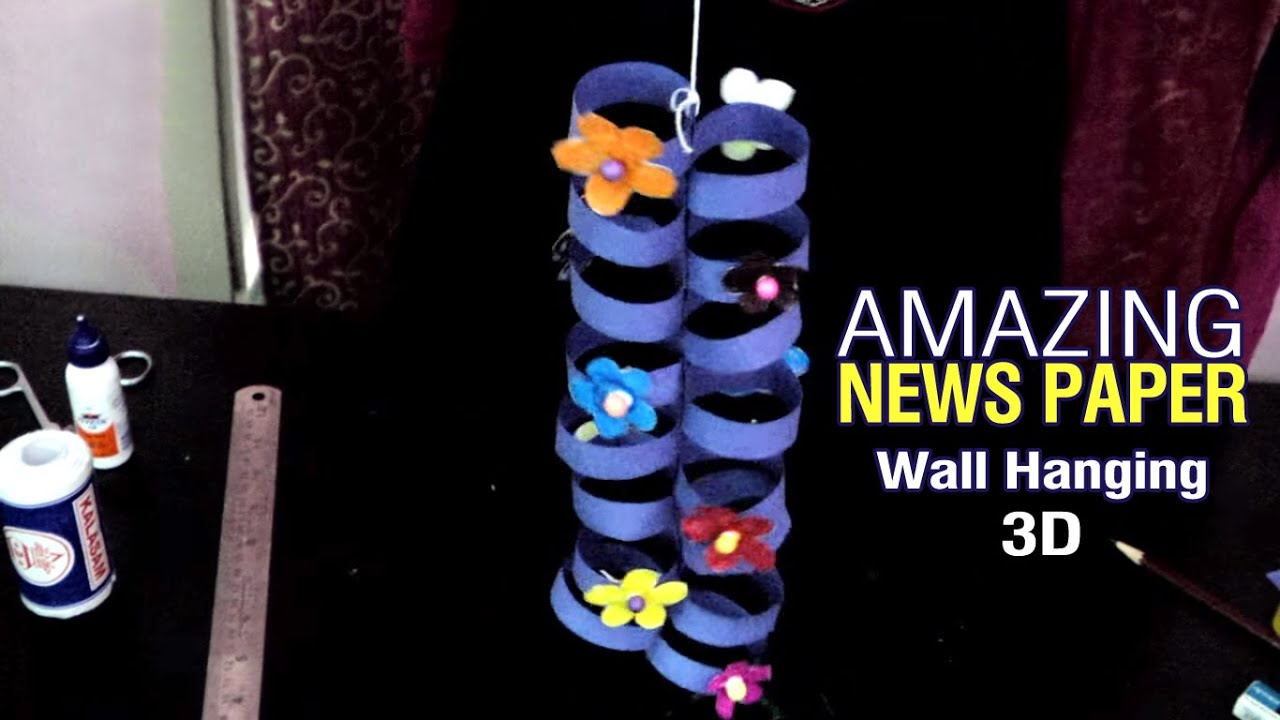 How to make news paper wall hanging diy room decorations for Waste paper wall hanging