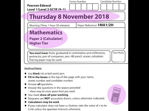EDEXCEL GCSE Maths. November 2018. Paper 2. Higher. Calculator. 2H.