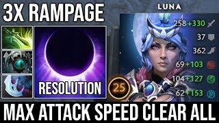 WTF 3x Rampage [Luna] Super Aggressive Plays Non-Stop Eclipse by 8000 MMR Resolution Never Die DotA2