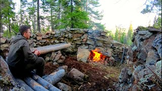 Building a Stone Hoขse High in the Mountains | Bushcraft Russia People of The Wild