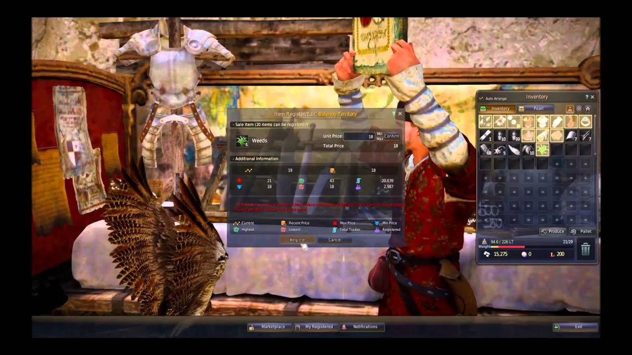 How to use the Auction House/Marketplace In Black Desert Online!