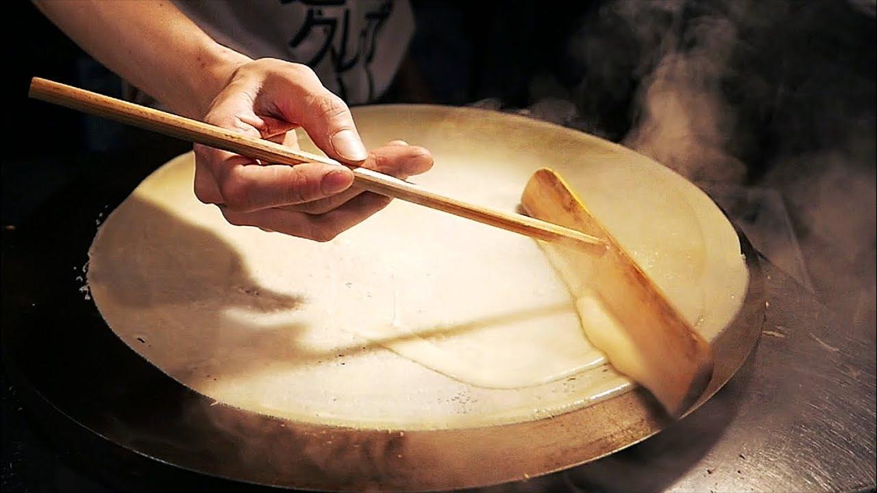 Japanese Street Food - CREPES, MOCHI, DANGO, White Strawberry Osaka Dessert Japan