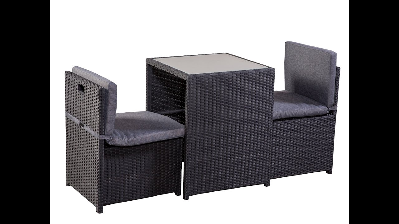 balkonm bel set balkonset terrassenm bel platzsparend box stahl pe rattan schwarz grau 100897. Black Bedroom Furniture Sets. Home Design Ideas