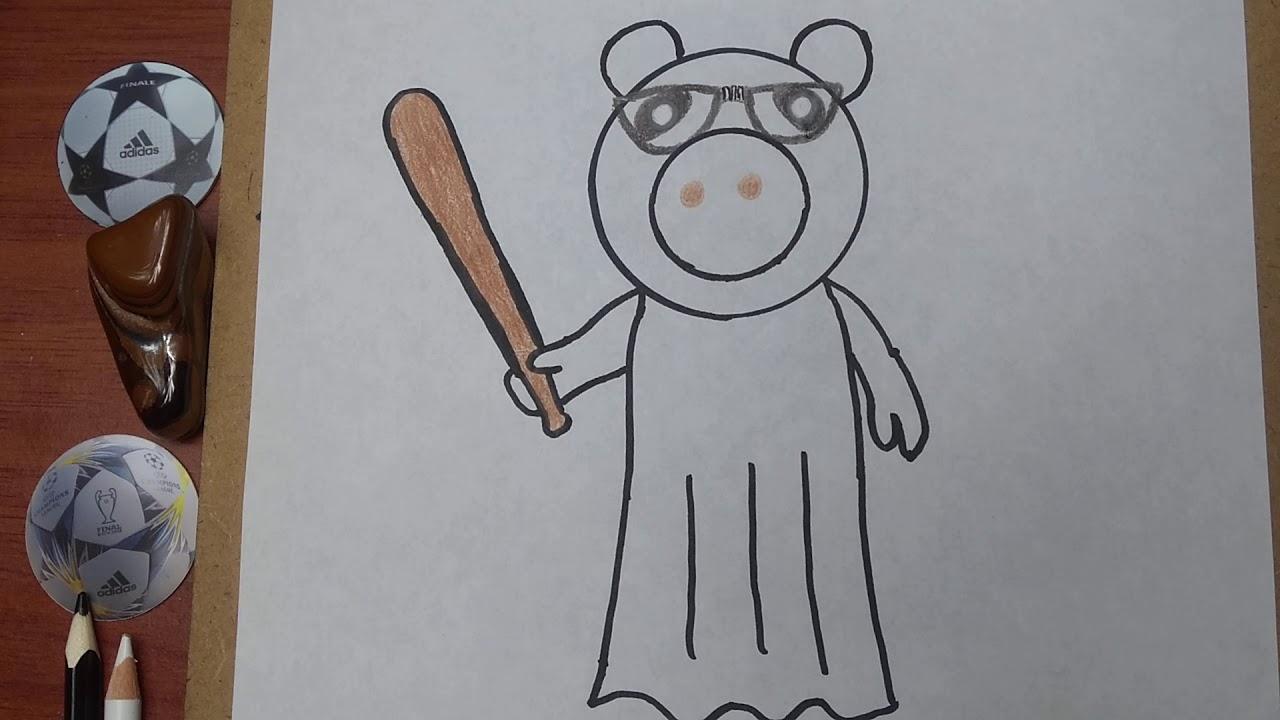 Como Dibujar Y Pintar Y Papa Cerdito De Piggy Roblox How To