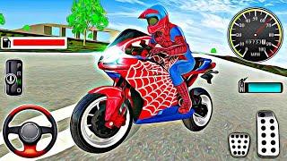 Süper kahraman örümcek adam motorsiklet oyunu | Çocuklar için motorsiklet oyunu