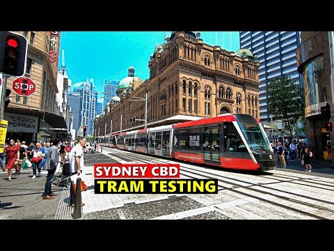 SYDNEY LIGHT RAIL Tram Testing - SYDNEY CBD Light Rail - Between Circular Quay & Town Hall