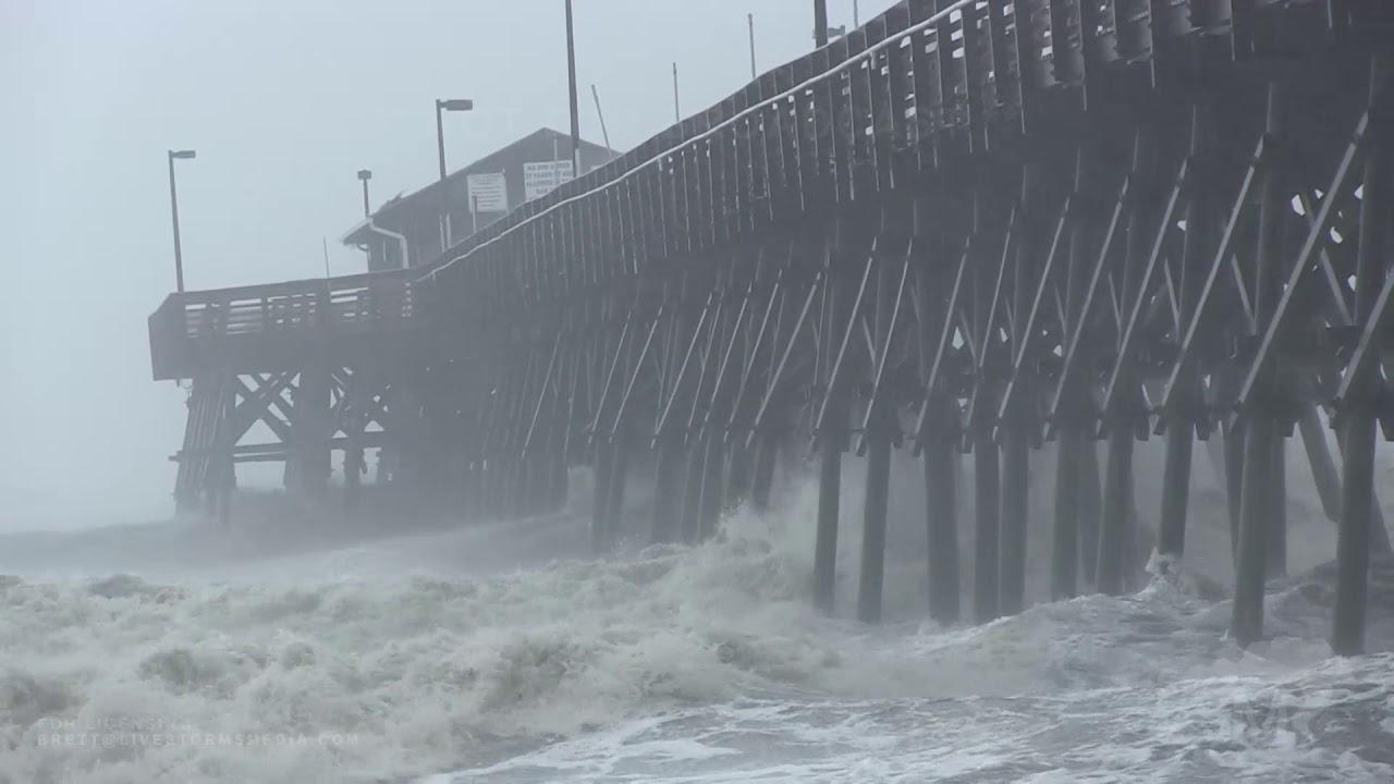 09,05,19 , Garden City Beach, SC , Huge waves pound pier