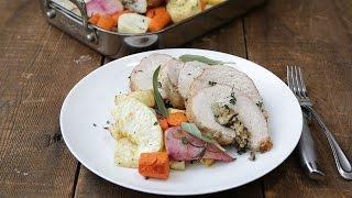 Mushroom And Quinoa Stuffed Turkey With Roasted Root Vegetables