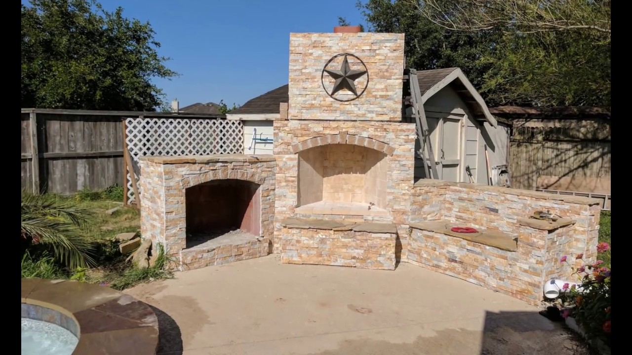 DIY Outdoor Fireplace - YouTube