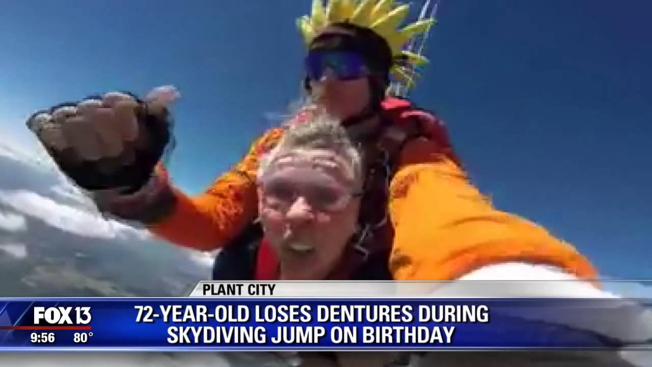 Elderly Florida skydiver loses dentures - YouTube