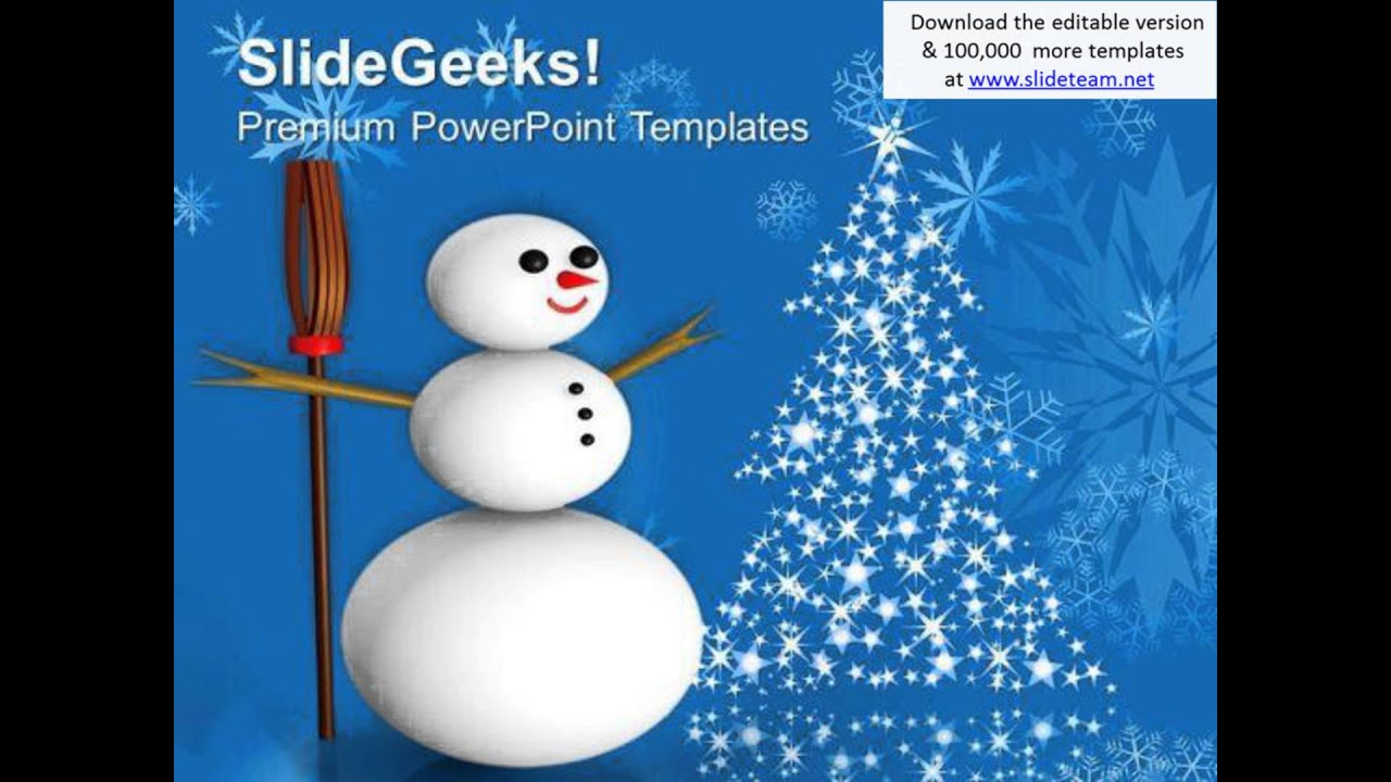 3d Snowman With Broom On Snowflakes Background Powerpoint Templates