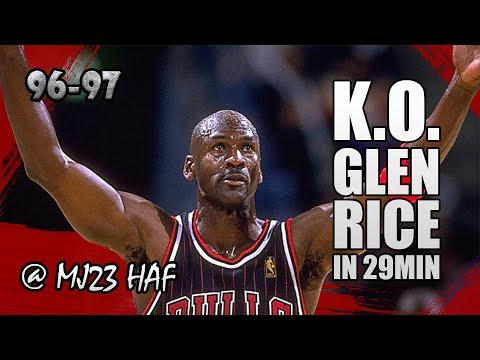 Michael Jordan Highlights vs Hornets (1996.11.15) - 38pts, KO Glen Rice in just 29MIN!