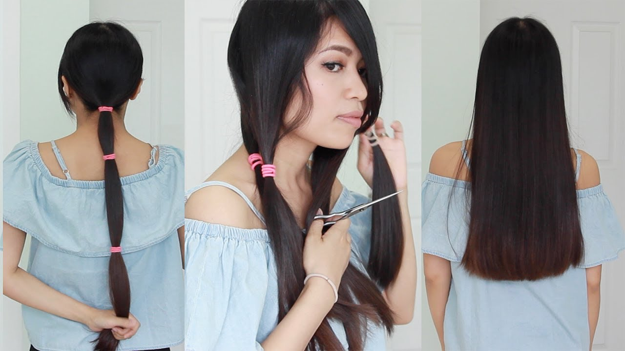 The Best Hair Hack How To Cut Your Hair Straight At Home Youtube