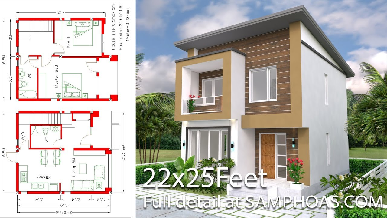 House Design With Full Plan 6 5x7 5m 2 Bedrooms Youtube