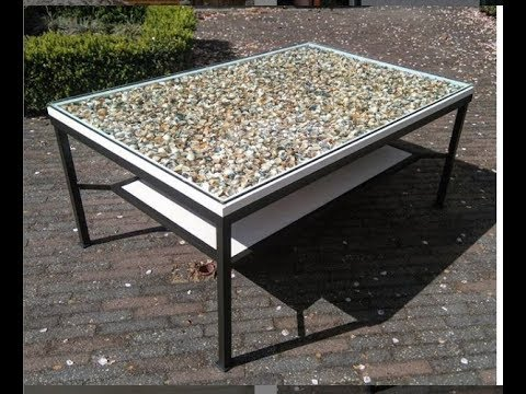 coffee table with sea shells and epoxy