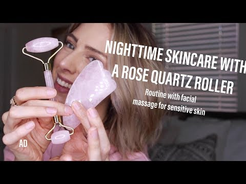 NIGHT SKINCARE WITH A ROSE QUARTZ ROLLER | Facial Massage for Acne Prone Skin #AD