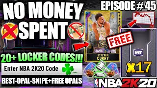 NBA 2K20 NO MONEY SPENT #45 - 17 FREE GALAXY OPALS, LUCKIEST OPAL SNIPE, 13 LOCKER CODES IN MYTEAM