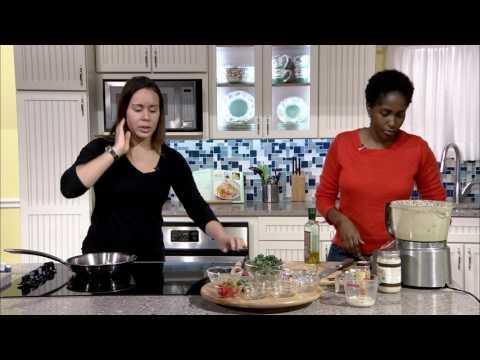 Chef Green preparing Vegan Mushroom Quiche with Potato Crust