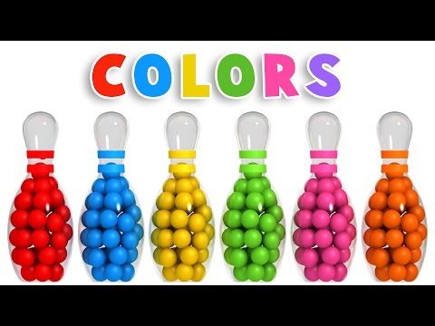 Colors for Children to Learn with 3D Bowling Game  Colours s Collection for Children