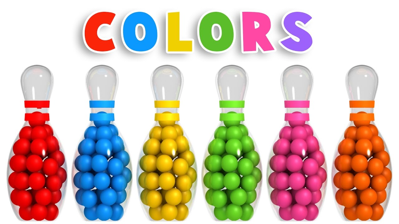 colors for children to learn with 3d bowling game colours videos