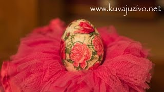 Repeat youtube video Uskrsnja jaja - Decoupage easter eggs- Tutorial