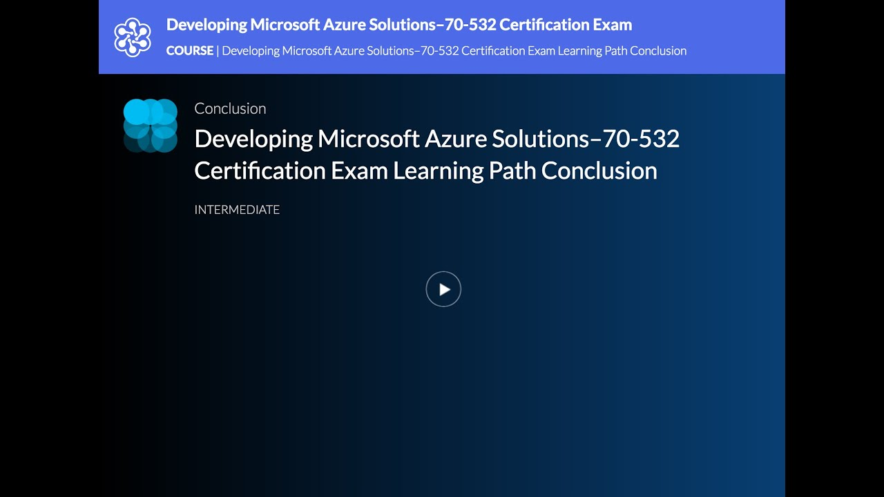 Developing Microsoft Azure Solutions70 532 Certification Exam