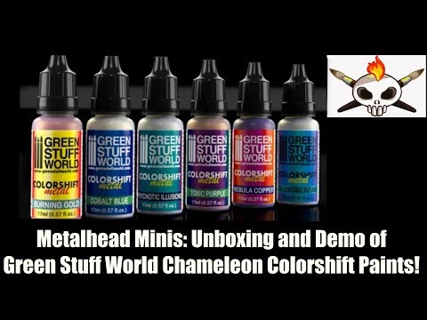 Metalhead Minis: Unboxing and Demo, Green Stuff World, Chameleon Colorshift Metal Paints!