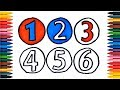 Drawing Numbers How to Draw Numbers Colors Picture Coloring Book  Numbers 123456