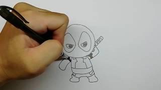 วาดการ์ตูน ง่ายง่าย สอนวาด การ์ตูน เดธพูล deadpool คาวาอี้ ฮีโร่ Kawaii Hero แบบ ง่ายๆ มาวาดกัน