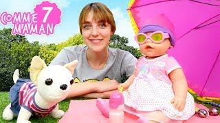 Comme maman № 7. Vidéo en français pour enfants . Jeux avec Bébé Born Emily : à la plage