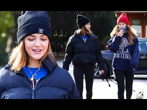Lucy Hale steps out to hike with her dear dog Elvis in Fryman Canyon
