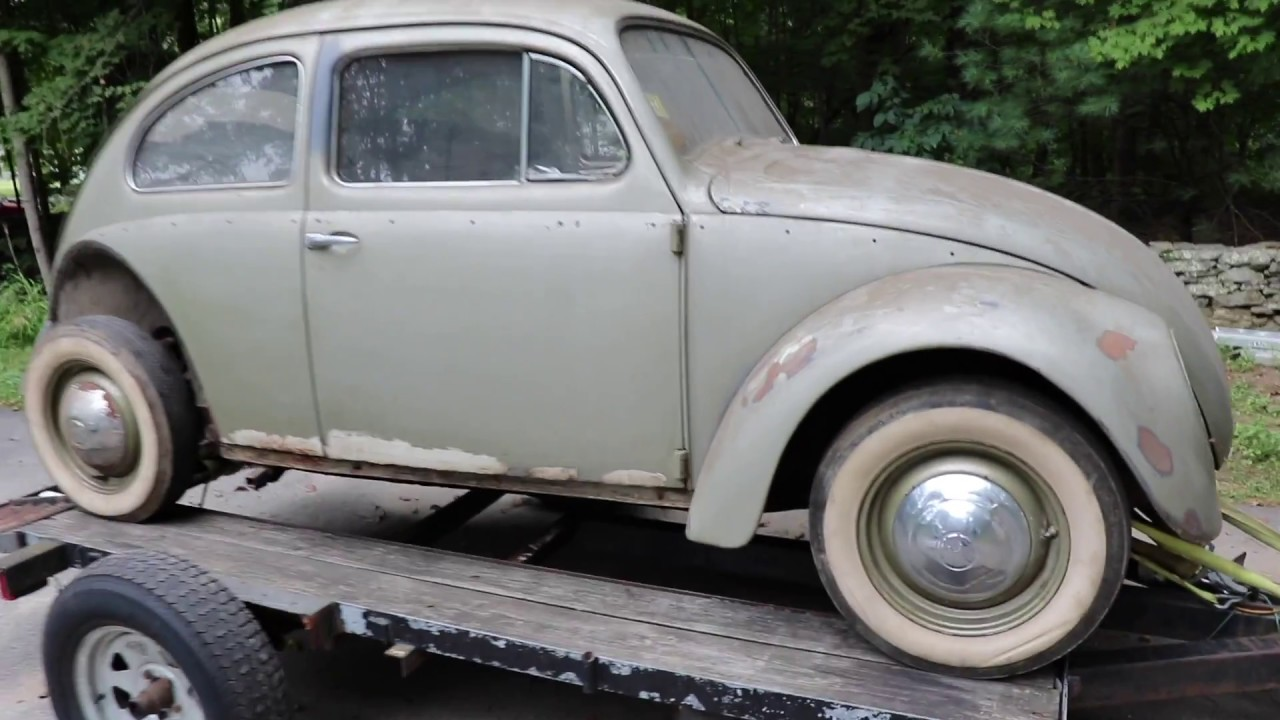 1958 vw beetle pulled