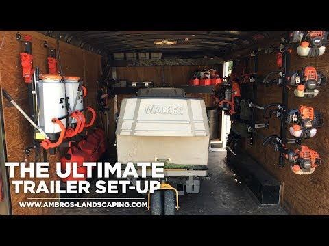 The Ultimate Enclosed Lawn Care/Landscaping Trailer Set-Up | Equipment Defender Racks - Shot In 4K
