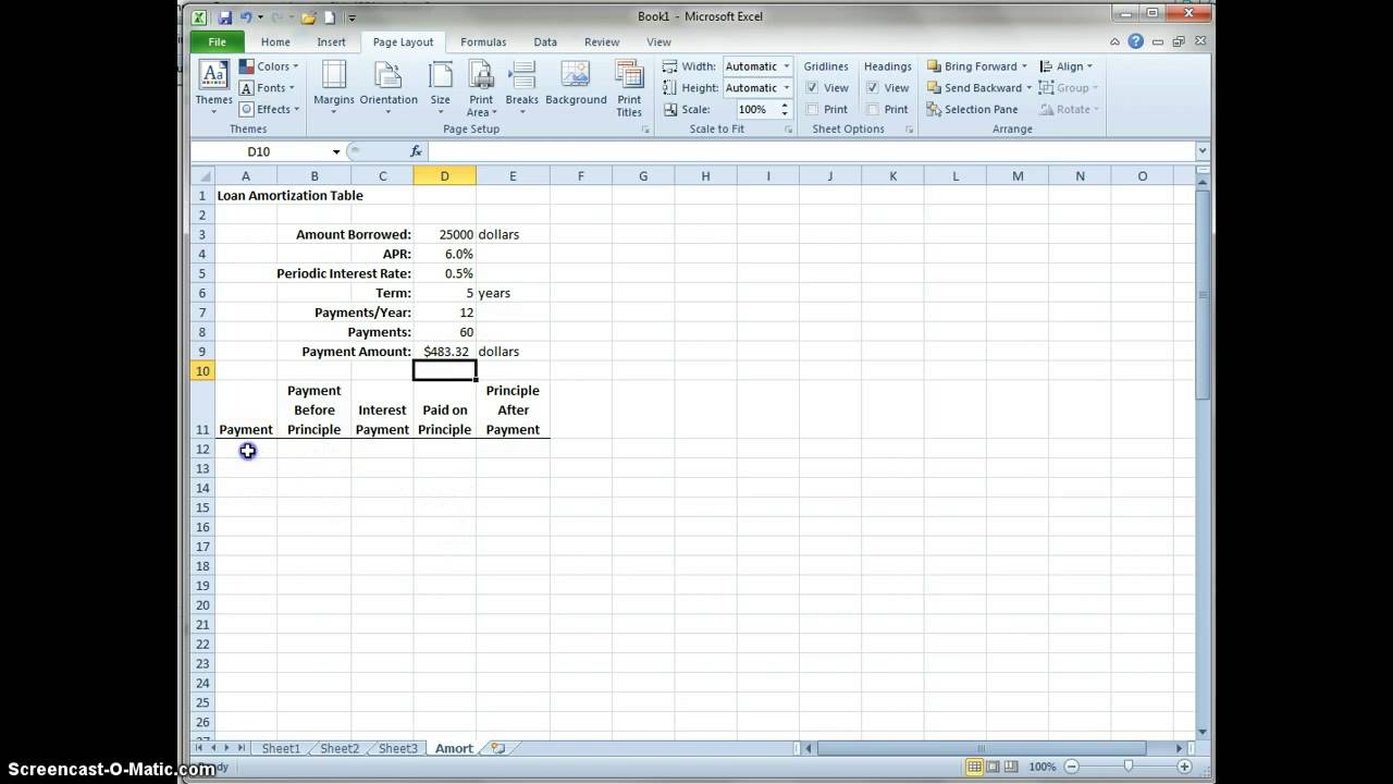 How to create a Loan Amortization Table - YouTube