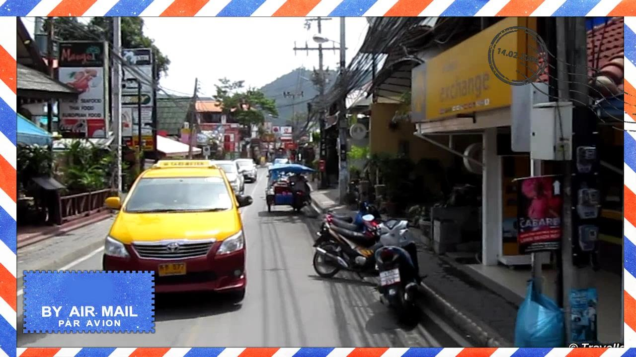 Lamai Beach Road drive in Songthaew taxi - Koh Samui attractions