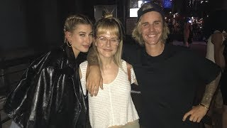 Cute Justin Bieber & Hailey Baldwin holding hands taking pictures with fans in New York June 21 2018