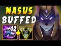 BUFFED Nasus TOP NOW with PLUS +12 Per Q = BIG Q Stacks | Ranked Solo Queue
