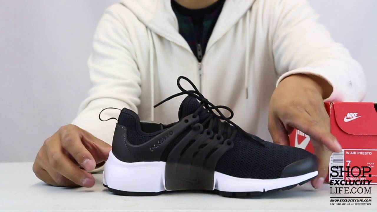182038d147e3 Women s Nike Air Presto Black White Unboxing Video at Exclucity ...
