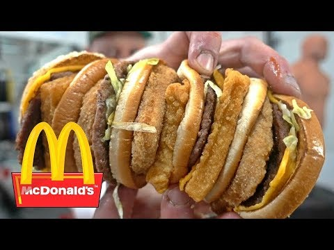 McDonald's Land, Air & Sea Burger SUPERSIZED! (3,500 Calories) | Eating Challenge