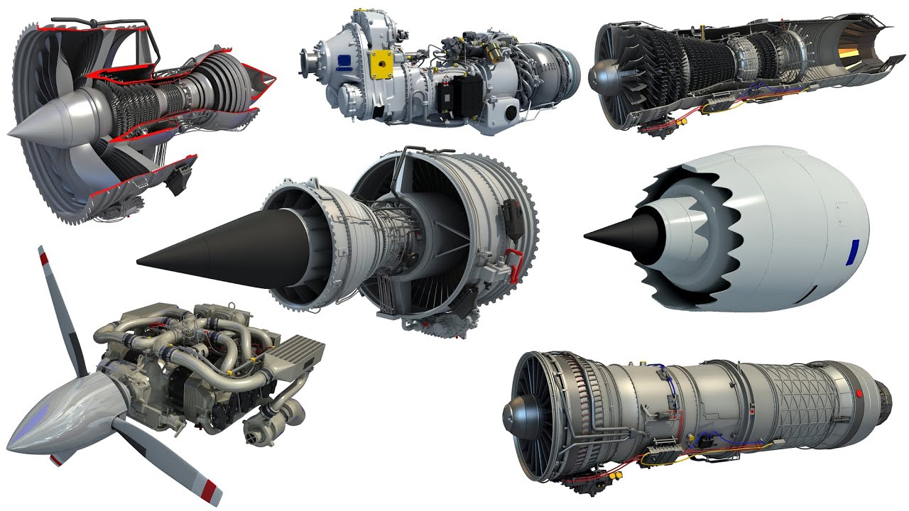 Turbofan Turboprop Supersonic Afterburning Aircraft Jet Engine 3D