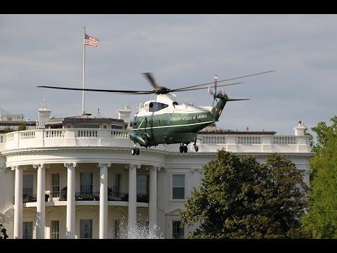 'Marine One' VH-3D landing & takeoff White House