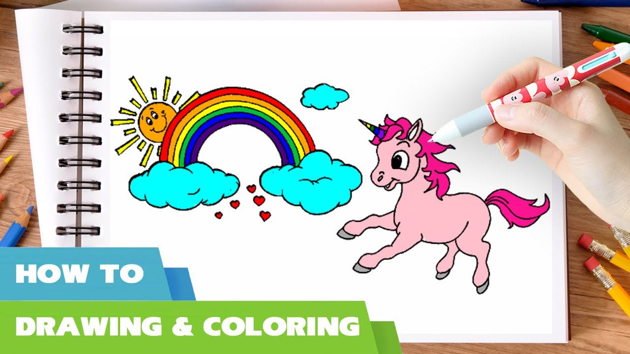 how to draw unicorn coloring pages i rainbow coloring book i learn color for kids i art markers