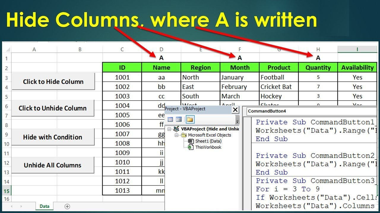 VBA to Hide and Unhide Columns on Conditional Basis - Excel VBA Example