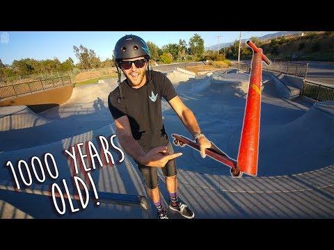 1000 YEAR OLD SCOOTER TRICKS AT SKATEPARK!