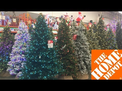 HOME DEPOT CHRISTMAS TREES DECORATIONS HOME DECOR - SHOP WITH ME SHOPPING STORE WALK THROUGH 4K