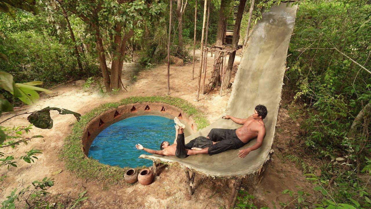 Build Water Slide Around Swimming Pool Underground House