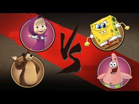 Shadow Fight 2 - Маша и Медведь против Спанч Боба и Патрика! Мультфильмы
