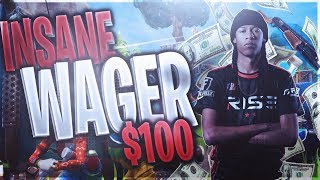 INSANE $100 1v1 FORTNITE WAGER WIN!! EZ MONEY! CLUTCH (no audio :( ) - FORTNITE BATTLE ROYALE