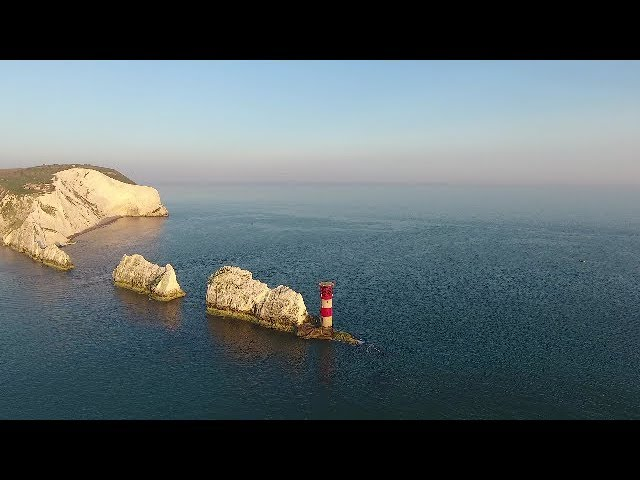 Aerial tour of Needles headland, Isle of Wight